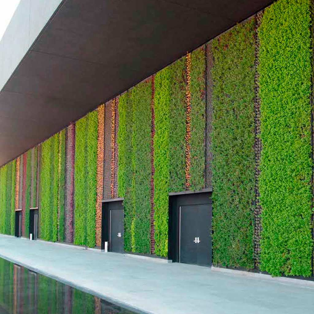 Recubrimiento verde como parte del Diseño de interiores o exteriores